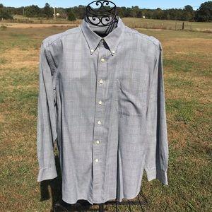 Mens Gray Long Sleeve Button Up Dress Shirt Large